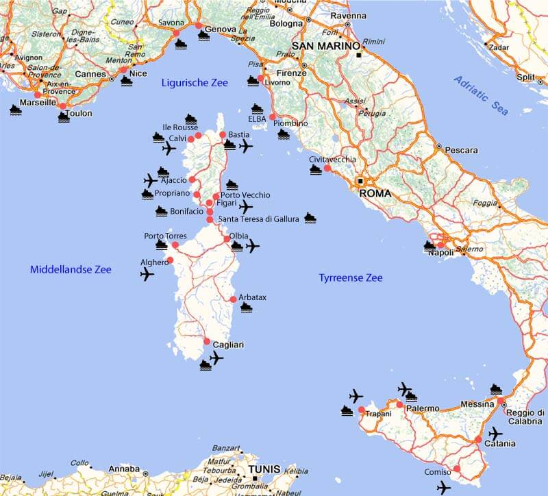 kaart overzicht veerdiensten vliegvelden havens
