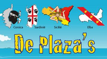 de plaza's van Corsica, Sardinië, Sicilië en Elba